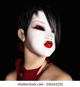 Digital Illustration of a female japanese Face