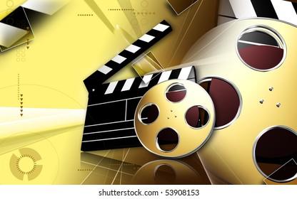 Digital illustration of   film in   colour background