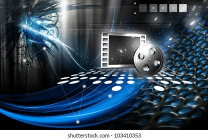 Digital illustration of Film symbol in isolated background