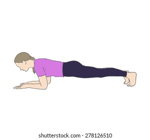 Digital illustration of a fittness woman doing plank
