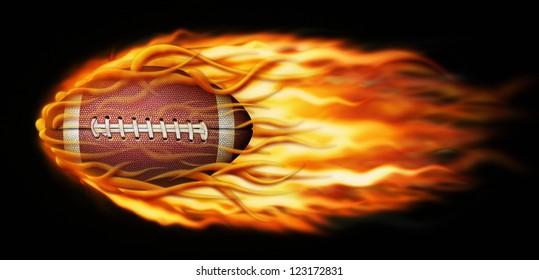 Digital illustration of a flaming football.
