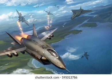 digital illustration of flying jets in fighter shooting scene in sky