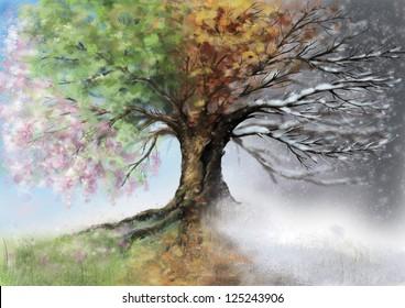 Digital illustration of four season tree.