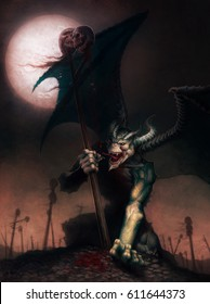 digital illustration of full figure fantasy character of a demon holding skulls with dripping blood at full moon night