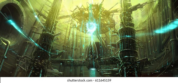digital illustration of futuristic science fiction environment background interior of energy generator