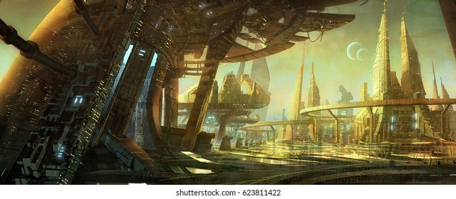 digital illustration of futuristic science fiction city building with abstract structure environment landscape