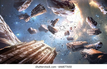 digital illustration of futuristic science fiction scene with spaceship spacecraft heading to star in space universe and planet