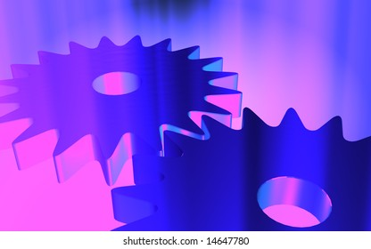 digital illustration of gears and spark