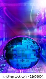 Digital illustration of digital globe