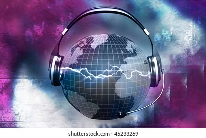Digital illustration of a globe with head phone