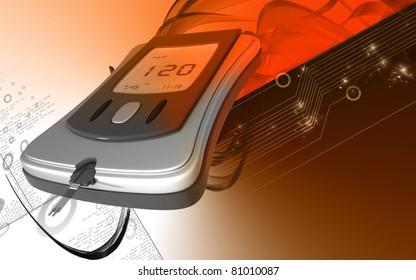 Digital illustration of Glocometer in colour background