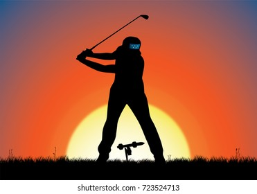 Digital Illustration of golfer and a guided missile golf ball.
