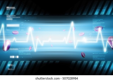 digital illustration of Heart beat line with blood cells