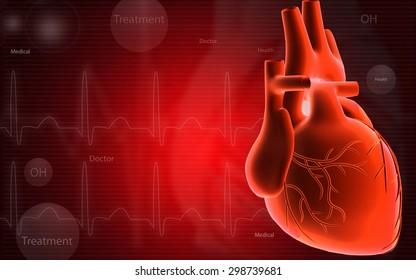 Digital illustration of  heart  in  color  background