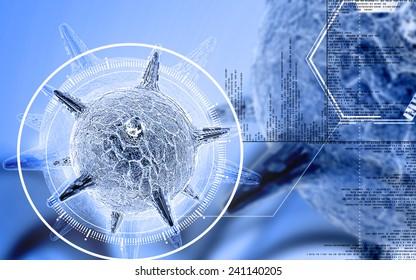 Digital illustration of  herpes virus in colour  background