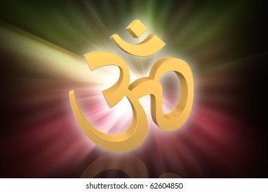 Digital illustration of Hinduism symbol in colour background