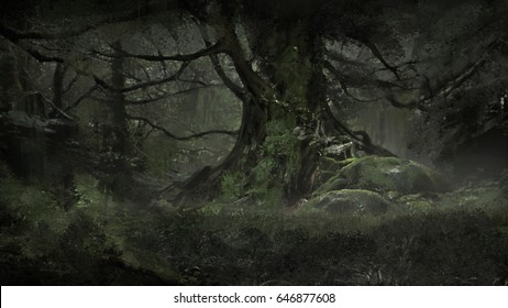 digital illustration of huge creepy tree in outgrow dark forest
