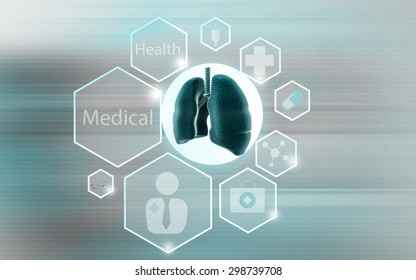 Digital illustration of human lungs in color background