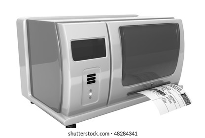 Digital illustration of  a Label writer in isolated background