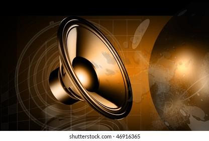 Digital illustration of loudspeaker  in colour background