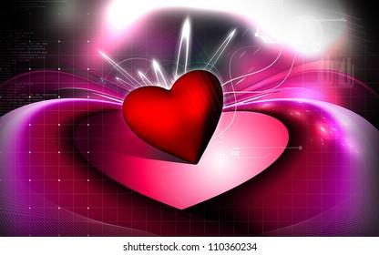 Digital illustration of love symbol in colour background