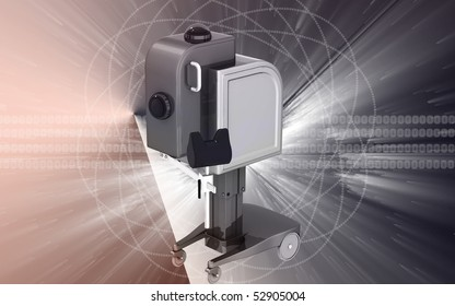 Digital illustration of  machine for orthopaedic  in colour  background