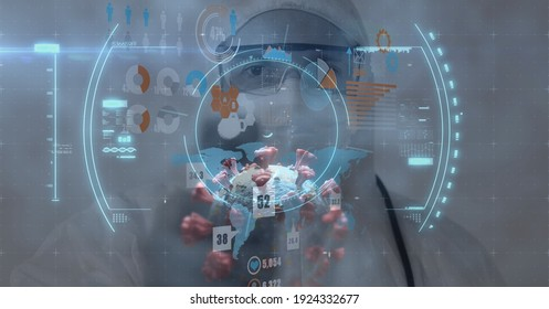 Digital illustration of macro Covid-19 cell with data, statistics and numbers floating over scientist wearing protective clothes, using tablet. Coronavirus Covid-19 pandemic concept digital composite