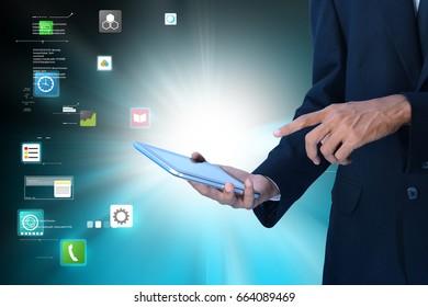 digital illustration of male executive using digital tablet