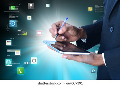 digital illustration of Man hand showing touch screen