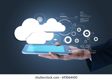 digital illustration of man showing cloud technology