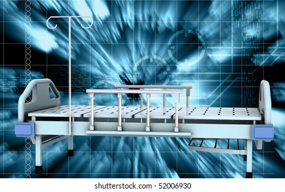Digital illustration of medical bed in isolated background
