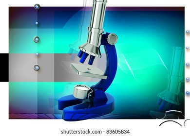 Digital illustration of microscope in color background