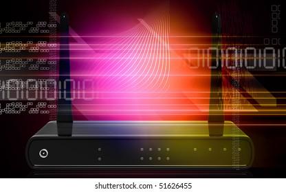 Digital illustration of modem in colour background