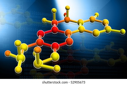 Digital illustration of molecules in colour background