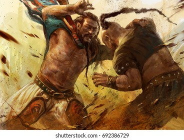 digital illustration of Mongolian fight