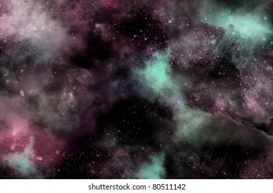 Digital illustration of a nebula in outer space