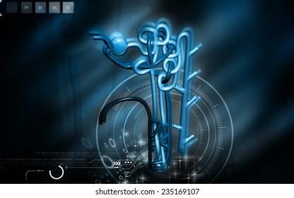 Digital illustration of  nephron   in  colour background