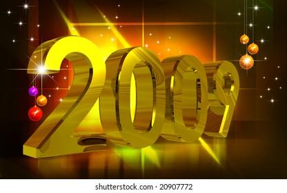 Digital illustration of New-year celebration