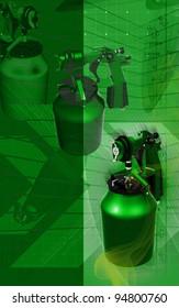 Digital illustration of nozzle spray gun in colour background