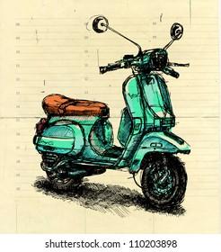 Digital illustration of an old-fashioned motor scooter on beige paper