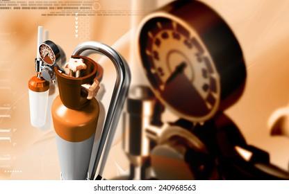 Digital illustration of oxygen cylinder in colour background