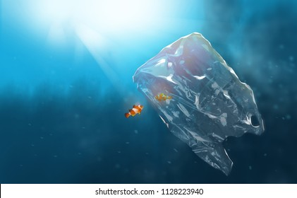Digital illustration painting design Plastic pollution in ocean problem. anemone fish stuck in plastic bag.