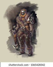 Digital illustration painting of fantasy character design warrior