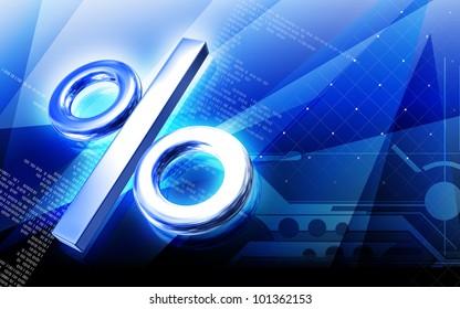 Digital illustration of percentage   symbol in colour background