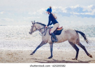 Digital illustration  from a photograph of a galloping horse with a female rider on a beach at the waters edge on a sunny day