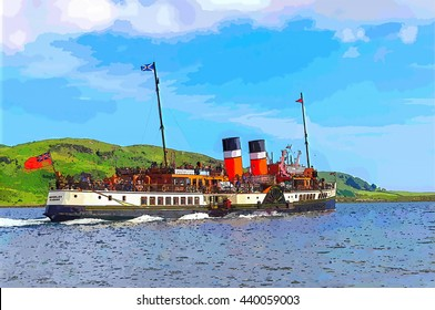 Digital illustration from a photograph of tourists aboard the sea going paddle steamer Waverley sailing on the Kyles of Bute near the village of Tighnabruaich, Scotland, isle of Bute in the background