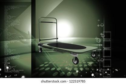 Digital illustration of Platform trolley in colour background