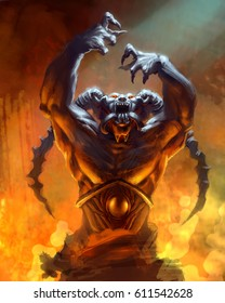 digital illustration of portrait of devil demon in hell with horns and dynamic hands