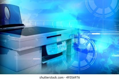 Digital illustration of printer in colour background