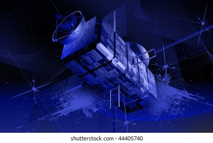 Digital illustration of satellite in colour background